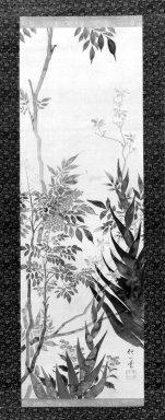Sakai Hoitsu (Japanese, 1761-1828). <em>Seasonal Flowers</em>, 19th century. Hanging scroll, ink and color on silk, image: 39 x 13 in.  (99.1 x 33.0 cm). Brooklyn Museum, Bequest of Christiana C. Burnett, 2002.4.7 (Photo: Brooklyn Museum, 2002.4.7_bw.jpg)