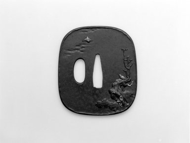 <em>Sword Guard (Tsuba)</em>, mid-19th century. Iron, iroe, 2 7/16 x 2 3/8 in.  (6.2 x 6 cm). Brooklyn Museum, Bequest of Christiana C. Burnett, 2002.4.9. Creative Commons-BY (Photo: Brooklyn Museum, 2002.4.9_bw.jpg)