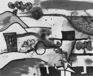 Carroll Dunham (American, born 1949). <em>Untitled (5/17/01)</em>, 2001. Acrylic and wash on paper, 42 x 52 in. (106.7 x 132.1 cm). Brooklyn Museum, Alfred T. White Fund, 2002.44. © artist or artist's estate (Photo: Brooklyn Museum, 2002.44.jpg)