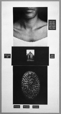 Lorna Simpson (American, born 1960). <em>Counting</em>, 1991. Photogravure and silkscreen, 73 1/4 x 37 1/2 in. (186.1 x 95.3 cm). Brooklyn Museum, Gift of Ellen and Daniel Shapiro, 2002.58. © artist or artist's estate (Photo: Brooklyn Museum, 2002.58_bw_SL1.jpg)