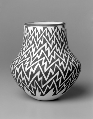 Lucy Martin Lewis (Haak'u (Acoma Pueblo), 1897(?)-1992). <em>Jar</em>, 1985. Clay, slip, 9 1/2 x 9 x 9 in. (24.1 x 22.9 x 22.9 cm). Brooklyn Museum, Gift of Richard J. Elefante, 2002.64.1. Creative Commons-BY (Photo: Brooklyn Museum, 2002.64.1_bw.jpg)
