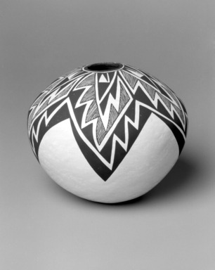 Lucy Martin Lewis (Haak'u (Acoma Pueblo), 1897(?)-1992). <em>Bowl</em>, 1985. Clay, slip, 7 1/2 x 8 1/2 x 8 1/2 in. (19.1 x 21.6 x 21.6 cm). Brooklyn Museum, Gift of Richard J. Elefante, 2002.64.2. Creative Commons-BY (Photo: Brooklyn Museum, 2002.64.2_side_bw.jpg)
