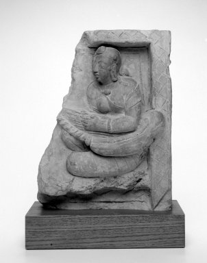 <em>Lady with a Harp</em>, 5th century. Red terracotta relief tile, 13 x 9 1/4 x 3 1/4 in. (33 x 23.5 x 8.3 cm). Brooklyn Museum, Gift in memory of Helen W. and Robert M. Benjamin by Stephen Benjamin, 2002.65 (Photo: Brooklyn Museum, 2002.65_bw.jpg)