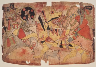 <em>Deities Battle a Tiger</em>, ca. 1830-1850. Watercolor on paper, 11 1/4 x 16 1/2 in. (28.6 x 41.9 cm). Brooklyn Museum, Anonymous gift, 2002.68 (Photo: Brooklyn Museum, 2002.68_transp6303.jpg)