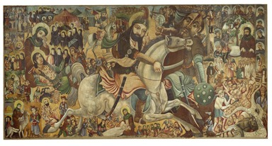 Abbas Al-Musavi. <em>Battle of Karbala</em>, late 19th-early 20th century. Oil on canvas, 68 1/2 × 133 in., 104 lb. (174 × 337.8 cm, 47.17kg). Brooklyn Museum, Gift of K. Thomas Elghanayan in honor of Nourollah Elghanayan, 2002.6 (Photo: Brooklyn Museum, 2002.6_PS2.jpg)