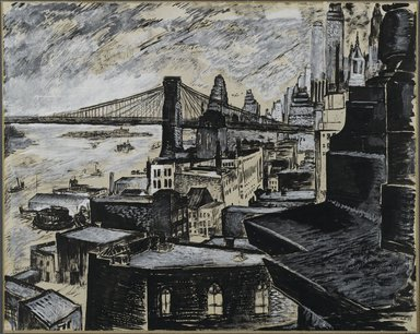 Vera Giger (American, 1895-1984). <em>View of Manhattan from Brooklyn Bridge</em>, 1935. Pen, ink wash and gouache on paper mounted to paperboard, Sheet: 17 1/2 x 1537 in. (44.5 x 3904 cm). Brooklyn Museum, Gift of Brietta Savoie, 2002.86.1. © artist or artist's estate (Photo: Brooklyn Museum, 2002.86.1_PS1.jpg)