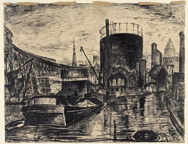 Vera Giger (American, 1895-1984). <em>Gowanus Canal, Brooklyn</em>, 1935. Pen and ink wash on paper, Sheet: 17 x 22 1/16 in. (43.2 x 56 cm). Brooklyn Museum, Gift of Brietta Savoie, 2002.86.2. © artist or artist's estate (Photo: Brooklyn Museum, 2002.86.2_PS9.jpg)
