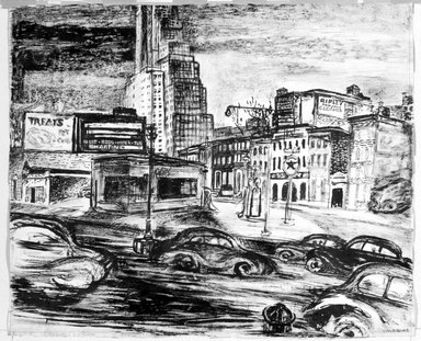 Vera Giger (American, 1895-1984). <em>Approach to Bridge</em>, 1948. Pen, ink and charcoal on paper, Sheet: 20 1/8 x 24 1/16 in. (51.1 x 61.1 cm). Brooklyn Museum, Gift of Brietta Savoie, 2002.86.3. © artist or artist's estate (Photo: Brooklyn Museum, 2002.86.3_bw.jpg)