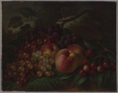 George Henry Hall (American, 1825-1913). <em>Peaches, Grapes and Cherries</em>, ca. 1860-1870. Oil on canvas, 12 5/8 x 16 3/16 in. (32.1 x 41.1 cm). Brooklyn Museum, Gift of Joan B. Mirviss and Robert J. Levine, 2002.91 (Photo: Brooklyn Museum, 2002.91_PS6.jpg)