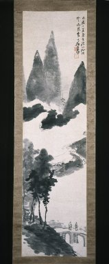 Seikô Okuhara (Japanese, 1837-1913). <em>Mountain Landscape</em>, ca. 1910. Hanging scroll, ink on paper, 67 x 17 11/16 in. (170.2 x 44.9 cm). Brooklyn Museum, Gift of Joan B. Mirviss in honor of Dr. Bertram H. Schaffner's 90th Birthday, 2002.96.1 (Photo: Brooklyn Museum, 2002.96.1_IMLS_SL2.jpg)
