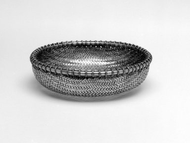 <em>Basket</em>, 1966. Woven silver, 1 3/4 x 6 1/8 in. (4.4 x 15.6 cm). Brooklyn Museum, Gift of Mrs. Harrison Salisbury, 2002.97.1. Creative Commons-BY (Photo: Brooklyn Museum, 2002.97.1_bw.jpg)