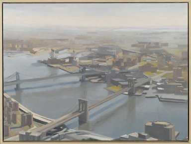 Diana Horowitz (American, born 1958). <em>East River and Bridges</em>, 2001. Oil on canvas, 15 x 20 in. (38.1 x 50.8 cm). Brooklyn Museum, Anonymous gift, 2002.9. © artist or artist's estate (Photo: Brooklyn Museum, 2002.9_PS1.jpg)
