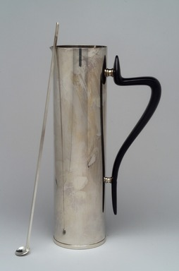 Donald H. Colflesh (American, born 1932). <em>Beverage Server and Spoon, Modern Pattern</em>, ca. 1959. Silverplate, plastic, Pitcher: 11 1/8 x 6 1/8 x 3 in. (28.3 x 15.6 x 7.6 cm). Brooklyn Museum, Gift of Jewel Stern, 2003.11.1a-b. Creative Commons-BY (Photo: Brooklyn Museum, 2003.11.1a-b.jpg)