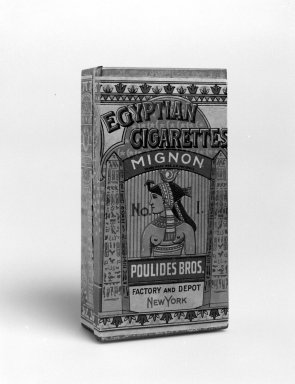 "Poulides Brothers (Tobacconist). <em>Cigarette Box, ""Egyptian Cigarettes Mignon,""</em> ca. 1900. Tin and color-printed paper, 1 3/8 x 2 7/8 x 5 1/2 in. (3.5 x 7.3 x 14 cm). Brooklyn Museum, Gift of JMW Gallery, 2003.12. Creative Commons-BY (Photo: Brooklyn Museum, 2003.12_bw.jpg)"