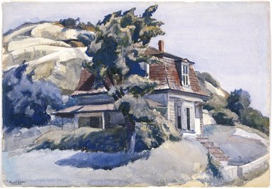 Edward Hopper (American, 1882-1967). <em>House at Riverdale</em>, 1928. Watercolor with graphite sketch on white, medium weight, roughly textured wove paper, 13 7/8 x 19 7/8 in. (35.2 x 50.5 cm). Brooklyn Museum, Bequest of Anita Steckler, 2003.1. © artist or artist's estate (Photo: Brooklyn Museum, 2003.1_SL1.jpg)