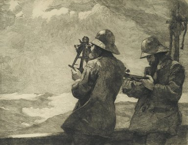 Winslow Homer (American, 1836-1910). <em>Eight Bells</em>, 1887. Etching of black ink on light beige, medium thick, smooth textured wove paper, Sheet: 23 7/8 x 29 3/8 in. (60.6 x 74.6 cm). Brooklyn Museum, Bequest of Anita Steckler, 2003.26 (Photo: Brooklyn Museum, 2003.26_PS1.jpg)