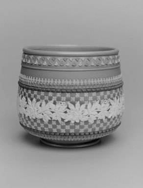 Doulton Pottery (1815-present). <em>Jardinere</em>, ca. 1885. Glazed stoneware, H: 6 1/2; diam: 8 in. (16.5 x 20.3 cm). Brooklyn Museum, Gift of Rosemarie Haag Bletter and Martin Filler, 2003.33.4. Creative Commons-BY (Photo: Brooklyn Museum, 2003.33.4_bw.jpg)