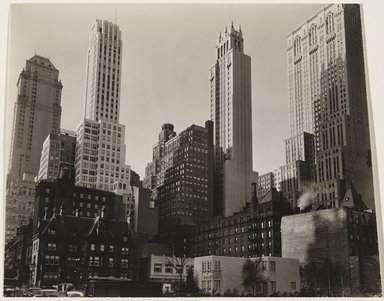 Berenice Abbott (American, 1898-1991). <em>Park Avenue and 39th Street</em>, 1936. Gelatin silver photograph, 7 1/4 x 9 in. (18.4 x 22.9 cm). Brooklyn Museum, Gift of the Prints and Photographs Council, Howard Greenberg, and Michael and Georgia de Havenon in honor of Barbara Head Millstein, 2003.36 (Photo: , 2003.36_PS9.jpg)