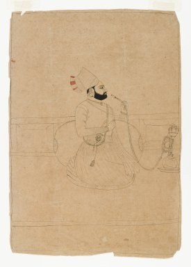 <em>Seated Raja Smoking a Hookah</em>, ca. 1775. Ink and color on paper, mat (opening): 9 7/8 × 8 1/8 in. (25.1 × 20.6 cm). Brooklyn Museum, Gift of Dr. Alvin E. Friedman-Kien, 2003.4.1 (Photo: Brooklyn Museum, 2003.4.1_IMLS_PS4.jpg)