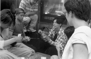 Harvey R. Zipkin (American, born 1942). <em>Card Game II - Chinatown (N.Y.C.)</em>, 1999-2000. Gelatin silver photograph, Sheet: 16 x 9 3/4 in. (40.6 x 24.8 cm). Brooklyn Museum, Gift of the artist, 2003.48. © artist or artist's estate (Photo: Brooklyn Museum, 2003.48.jpg)