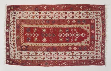 <em>Kilim</em>, early 20th century. Wool, tapestry technique, Old Dims: 36 1/2 x 59 15/16 in. (92.7 x 152.2 cm). Brooklyn Museum, Gift of Dr. Bertram H. Schaffner, 2003.53. Creative Commons-BY (Photo: Brooklyn Museum, 2003.53_transp6121.jpg)