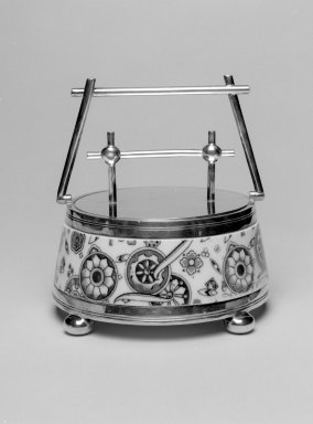 (of ceramic body) Unknown. <em>Sugar Bowl with Lid</em>, ca. 1880. Glazed earthenware, silverplate, height: 6 in. (15.2 cm); diameter: 5 1/4 in. (13.3 cm). Brooklyn Museum, Gift of Rosemarie Haag Bletter and Martin Filler, 2003.57.3a-b. Creative Commons-BY (Photo: Brooklyn Museum, 2003.57.3a-b_bw.jpg)
