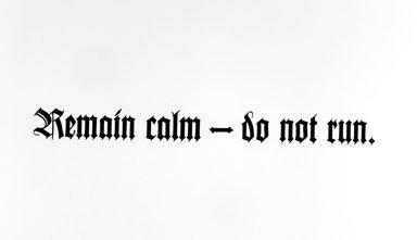 Reuben Lorch-Miller (American, born 1971). <em>Remain calm-do not run</em>, 2002. Screenprint, 22 7/16 x 29 7/8 in. (57 x 75.9 cm). Brooklyn Museum, Alfred T. White Fund, 2003.59a. © artist or artist's estate (Photo: Brooklyn Museum, 2003.59a.jpg)