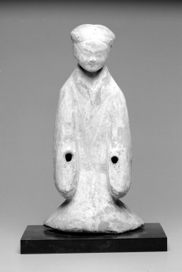 <em>Funerary Figure</em>. Grey earthenware with white and red polychrome., 19 3/4 x 9 15/16 x 5 1/4 in. (50.2 x 25.2 x 13.3 cm). Brooklyn Museum, Gift of Charles Tanenbaum in loving memory of his wife, Mary, 2003.66a-c. Creative Commons-BY (Photo: Brooklyn Museum, 2003.66_bw.jpg)