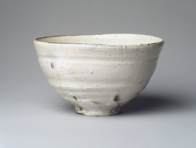 Tsujimura Shiro (Japanese, born 1947). <em>Tea Bowl</em>, 2001. Glazed stoneware, Korean Kohiki style, 3 1/8 x 5 3/4 in. (7.9 x 14.6 cm). Brooklyn Museum, Gift of Koichi Yanagi, 2003.67.5. Creative Commons-BY (Photo: Brooklyn Museum, 2003.67.5_transp6313.jpg)
