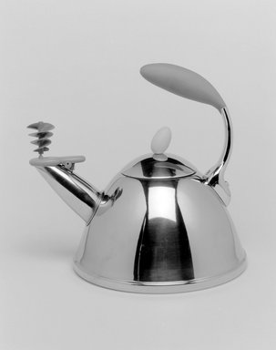 "Michael Graves (American, 1934-2015). <em>""Spinning Whistle"" Tea Kettle with Lid</em>, Designed 2002. Stainless steel, plastic, 10 x 10 7/8 x 9 in. (25.4 x 27.6 x 22.9 cm). Brooklyn Museum, Gift of Michael Graves & Associates, 2003.72.1a-b. Creative Commons-BY (Photo: Brooklyn Museum, 2003.72.1a-b_bw.jpg)"