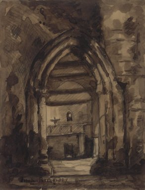 Émile Bernard (French, 1868-1941). <em>Untitled (Chapel)</em>, ca. 1889. Ink wash, Image: 11 x 14 1/2 in. (27.9 x 36.8 cm). Brooklyn Museum, Gift of Arnold and Pamela Lehman, 2003.76.1 (Photo: Brooklyn Museum, 2003.76.1.jpg)