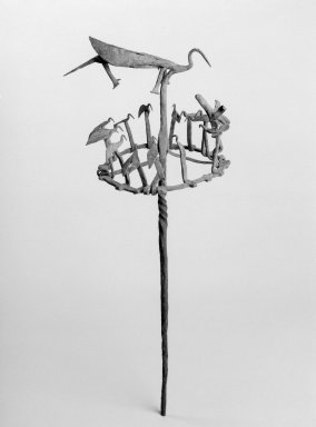 Yorùbá. <em>Opa Osanyin or Opa Erinle Staff</em>, 19th century. Iron, 26 1/4 x 10 3/4 x 10 1/4 in. (66.7 x 27.3 x 26 cm). Brooklyn Museum, Gift of Drs. John I. and Nicole Dintenfass, 2003.79.1. Creative Commons-BY (Photo: Brooklyn Museum, 2003.79.1_bw.jpg)
