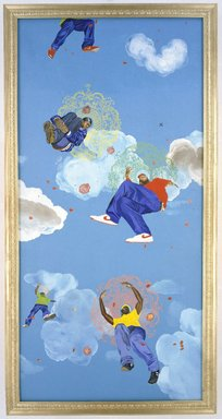 Kehinde Wiley (American, born 1977). <em>Go</em>, 2003. Oil on panel, Each panel: 48 x 120 x 2 1/2 in. (121.9 x 304.8 x 6.4 cm). Brooklyn Museum, Mary Smith Dorward Fund and Healy Purchase Fund B, 2003.90.1a-e. © artist or artist's estate (Photo: Brooklyn Museum, 2003.90.1a-e_Design_scan.jpg)