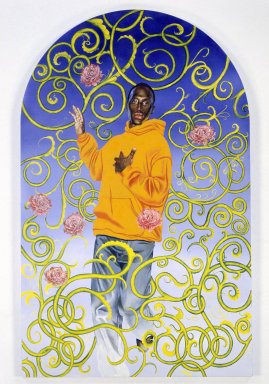 Kehinde Wiley (American, born 1977). <em>Passing/Posing (Assumption)</em>, 2003. Oil on canvas mounted on panel, 96 x 60 x 1 1/2 in. (243.8 x 152.4 x 3.8 cm). Brooklyn Museum, Mary Smith Dorward Fund and Healy Purchase Fund B, 2003.90.3. © artist or artist's estate (Photo: Brooklyn Museum, 2003.90.3_SL1.jpg)