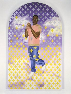 Kehinde Wiley (American, born 1977). <em>Passing/Posing (Immaculate Consumption)</em>, 2003. Oil on canvas mounted on panel, 96 x 60 x 1 1/2 in. (243.8 x 152.4 x 3.8 cm). Brooklyn Museum, Mary Smith Dorward Fund and Healy Purchase Fund B, 2003.90.4. © artist or artist's estate (Photo: Brooklyn Museum, 2003.90.4_SL1.jpg)