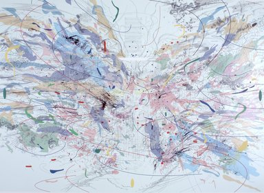 Julie Mehretu (American, born Ethiopia, 1970). <em>Entropia (review)</em>, 2004. 32 color lithograph and screenprint, Sheet: 33 1/2 x 44 in. (85.1 x 111.8 cm). Brooklyn Museum, Alfred T. White Fund, 2004.102. © artist or artist's estate (Photo: Brooklyn Museum, 2004.102.jpg)