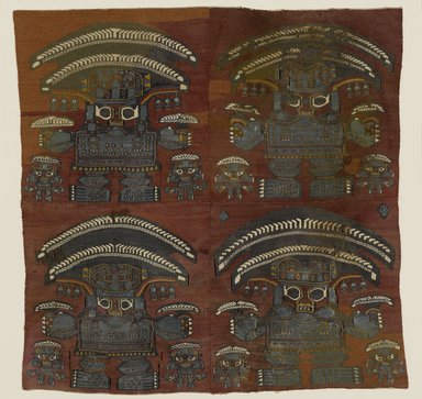 Lambayeque. <em>Tapestry Fragment with Four Large Human Figures</em>, 1000-1476. Camelid fiber, pigments, Textile: 21 x 21 in. (53.3 x 53.3 cm). Brooklyn Museum, Gift of Dr. Alvin E. Friedman-Kien, 2004.109.2. Creative Commons-BY (Photo: Brooklyn Museum, 2004.109.2_PS6.jpg)