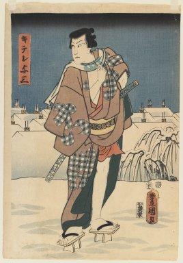 Utagawa Kunisada (Toyokuni III) (Japanese, 1786-1865). <em>Woodblock print</em>, 1830-1840. Woodblock print, mat: 51 x 41 cm. Brooklyn Museum, Gift of Dr. Alvin E. Friedman-Kien, 2004.112.32 (Photo: Brooklyn Museum, 2004.112.32_IMLS_PS3.jpg)