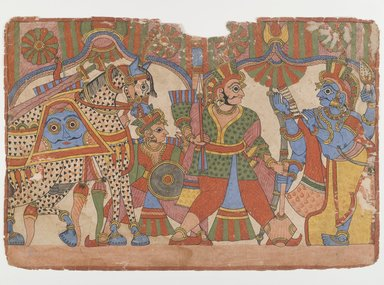 <em>Page from a Mahahabharata Series</em>, ca. 1830-1850. Ink and color on paper, 11 x 16 5/8 in. (27.9 x 42.2 cm). Brooklyn Museum, Gift of Walter M. Spink in honor of Amy and Robert L. Poster, 2004.113.1 (Photo: Brooklyn Museum, 2004.113.1_IMLS_PS4.jpg)