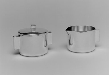 Merle F. Faber (American, 1891-1980). <em>Sugar Bowl with Lid</em>, 1943-early 1950s. Silverplate, 2 3/8 x 3 1/2 x 2 1/2 in. (6 x 8.9 x 6.4 cm). Brooklyn Museum, Gift of Jewel Stern, 2004.12.4a-b. Creative Commons-BY (Photo: , 2004.12.3_2004.12.4a-b_bw.jpg)