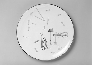 "Lucha (unknown). <em>Plate, ""Conversation/Music"" Pattern</em>, ca. 1954. Porcelain, 1 x 10 3/4 x 10 3/4 in. (2.5 x 27.3 x 27.3 cm). Brooklyn Museum, Gift of Charles Venable and Martin Webb, 2004.14.1. Creative Commons-BY (Photo: Brooklyn Museum, 2004.14.1_bw.jpg)"