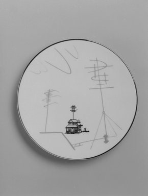 "Lucha (unknown). <em>Plate, ""Conversation/Antenna"" Pattern</em>, ca. 1954. Porcelain, 5/8 x 6 7/16 x 6 7/16 in. (1.6 x 16.4 x 16.4 cm). Brooklyn Museum, Gift of Charles Venable and Martin Webb, 2004.14.2. Creative Commons-BY (Photo: Brooklyn Museum, 2004.14.2_bw.jpg)"