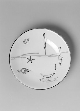 "Lucha (unknown). <em>Dessert Bowl, ""Conversation/Aquarium"" Pattern</em>, ca. 1954. Porcelain, 1 1/8 x 5 3/4 x 5 3/4 in. (2.9 x 14.6 x 14.6 cm). Brooklyn Museum, Gift of Charles Venable and Martin Webb, 2004.14.3. Creative Commons-BY (Photo: Brooklyn Museum, 2004.14.3_bw.jpg)"