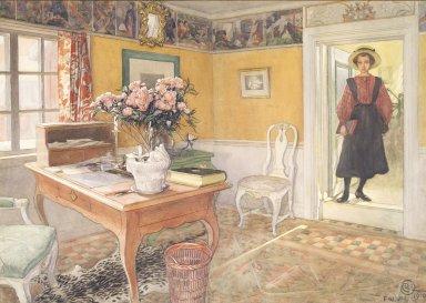 Carl Olof Larsson (Swedish, 1853-1919). <em>School Girl in an Interior</em>, 1910. Watercolor, framed: 20 x 28 1/4 in. (50.8 x 71.8 cm). Brooklyn Museum, Bequest of Marion Mann Roberts, 2004.16 (Photo: Brooklyn Museum, 2004.16_transp6332.jpg)
