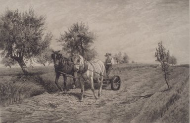 Peter Moran (American, 1841-1914). <em>Mowing</em>, 1887. Etching, Sheet: 21 1/4 x 27 5/8 in. (54 x 70.2 cm). Brooklyn Museum, Emily Winthrop Miles Fund, 2004.20 (Photo: Brooklyn Museum, 2004.20.jpg)