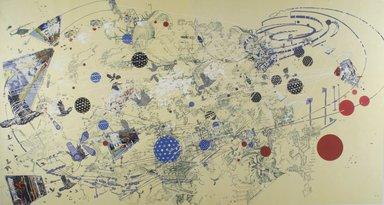 Sarah Sze (American, born 1969). <em>Day</em>, 1999-2002. Photolithography, silkscreen, 37 5/8 x 71 in. (95.6 x 180.3 cm). Brooklyn Museum, Alfred T. White Fund, 2004.21. © artist or artist's estate (Photo: Brooklyn Museum, 2004.21.jpg)