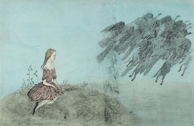 "Kiki Smith (American, born Germany, 1954). <em>""Come Away from Her,""</em> 2003. Intaglio with hand applied watercolor, Sheet: 50 3/8 x 73 1/2 in. (128 x 186.7 cm). Brooklyn Museum, Gift of the Prints and Photographs Council, 2004.22. © artist or artist's estate (Photo: Brooklyn Museum, 2004.22_PS1.jpg)"