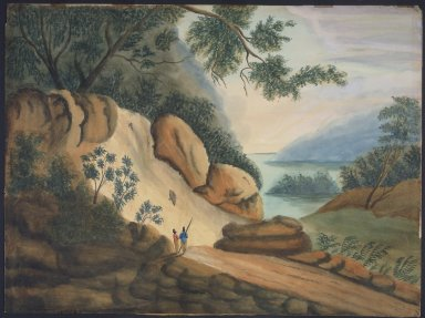 Sarah A. Ryder. <em>Landscape with Two Figures</em>, 19th century. Watercolor over graphite on wove paper, 19 x 25 9/16 in. (48.3 x 64.9 cm). Brooklyn Museum, Bequest of Elisabeth Sloan Livingston, 2004.24.2 (Photo: Brooklyn Museum, 2004.24.2.jpg)