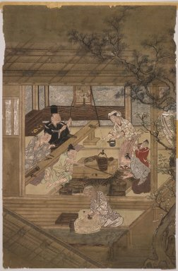 <em>Domestic Scene</em>. Ink and color on silk, 21 1/2 x 14 in. (54.6 x 35.6 cm). Brooklyn Museum, The Peggy N. and Roger G. Gerry Collection, 2004.28.10 (Photo: Brooklyn Museum, 2004.28.10.jpg)