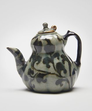 <em>Ewer</em>, 12th century. Stoneware with underglaze iron-painting, celadon glaze, gold and black lacquer, Height: 2 15/16 in. (7.5 cm). Brooklyn Museum, The Peggy N. and Roger G. Gerry Collection, 2004.28.113a-b. Creative Commons-BY (Photo: , 2004.28.113a-b_PS11.jpg)